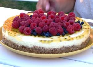 Citron- och passionsfruktscheesecake