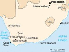Sydafrika vinkarta