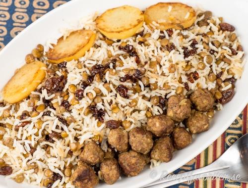 Persiskt ris med köttbullar
