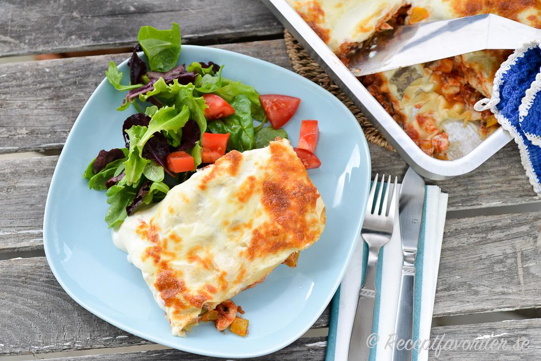 lasagne kyckling spenat