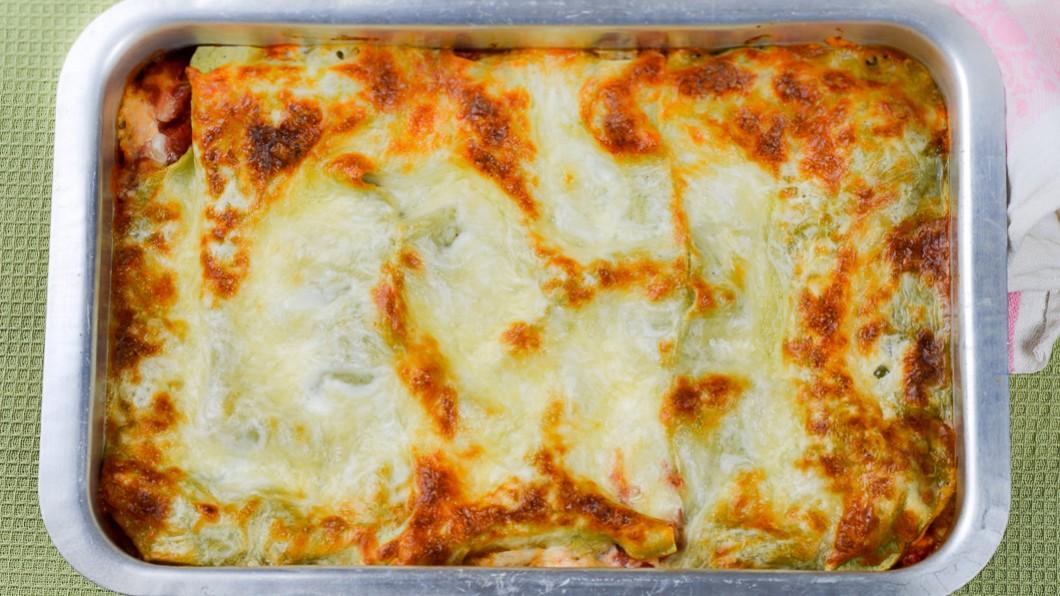 vegetarisk lasagne med getost