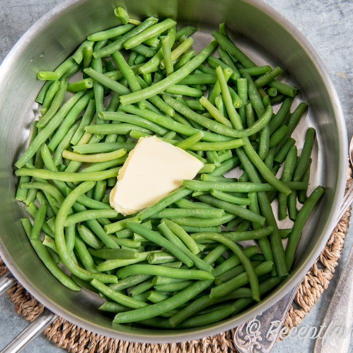 färska gröna bönor
