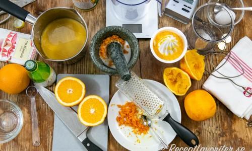 Ingredienser till apelsinsorbet