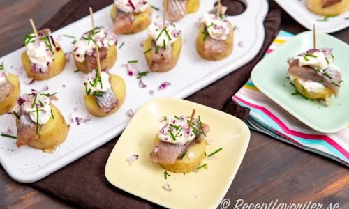Aptitretare med potatis och majtessill på fat och assiette