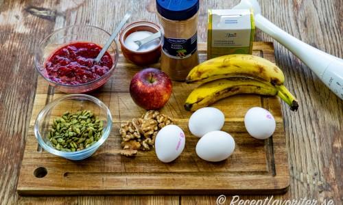 Ingredienser till bananpannkakorna