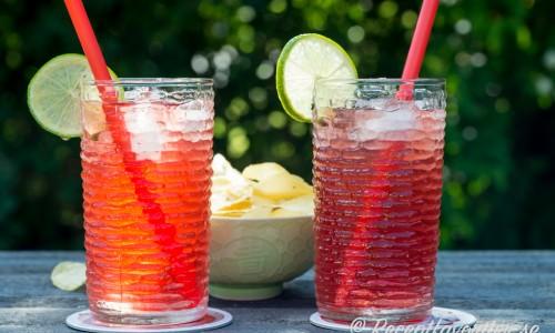 Rom och tranbärsjuice med apelsinlikör och passionsfruktslikör