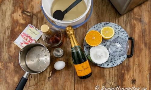Ingredienser till champagnesorbet