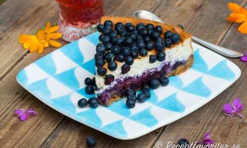 Cheesecake kan smaksättas på massor av olika vis - här med svenska färska blåbär. Andra bär som hjortron, hallon, björnbär osv blir också gott.