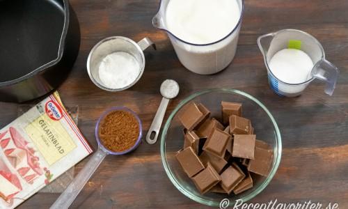Ingredienser till chokladpuddingen: gelatinblad, kakao, majsstärkelse, mjölk, vaniljsocker, mjölkchoklad och socker.