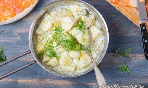 Dillstuvad potatis i kastrull