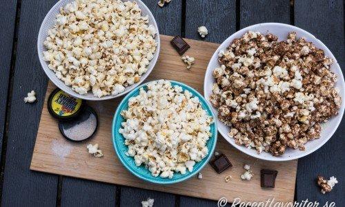 Lakritspopcorn, kokospopcorn och chokladpopcorn