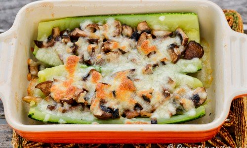 Gratinerad zucchini med svamp