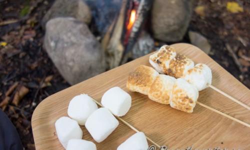Du kan trä marshmallowsen flera på varje spett eller grilla dem en i taget. De kan ej läggas på galler för då klibbar de fast. Grilla dem tills de har ljus brun färg runt om. Vänta några sekunder så de svalnat något innan du äter dem.