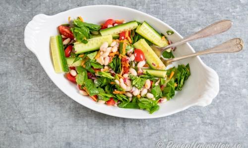 Grönsallad med färsk babyspenat, gurka, tomat, vita bönor och riven morot samt rödlök och dressing av olivolja och vinäger.