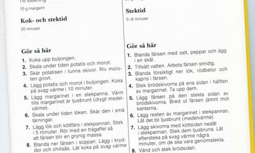 Orginalreceptet på köttfärssoppa ur min gamla hemkunskapsbok - med anteckningar :)