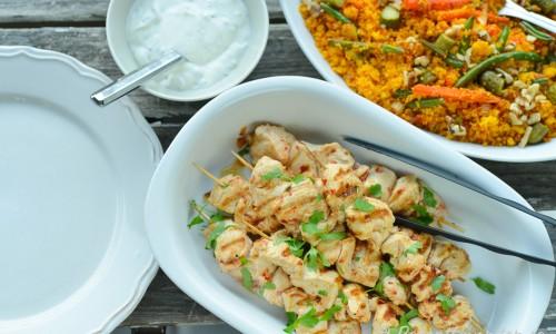 Kycklingspetten passar till middag eller buffé.