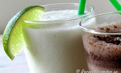 Limemilkshake - god och frisk milkshake med färsk lime, vaniljglass och mjölk.