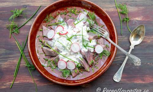 Matjessill i bitar på fat toppad med crème fraiche, rivet äpple, dill och gräslök