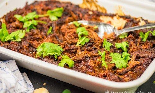 Mexikansk pulled beef på serveringsfat