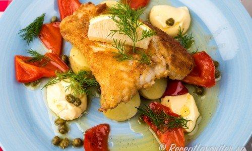 Panerad torsk med citronmajonnäs