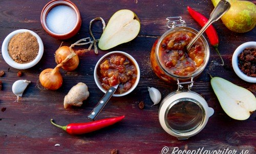 Ingredienser till päronchutney