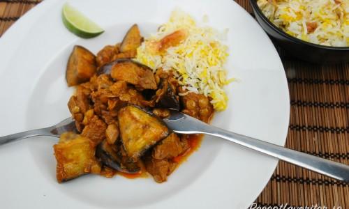 Persisk lammgryta med aubergine Ghejme Badenjan