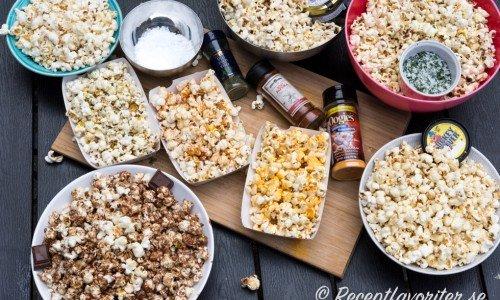 Här hittar du grundrecept på popcorn med smör och olika smaksättningar