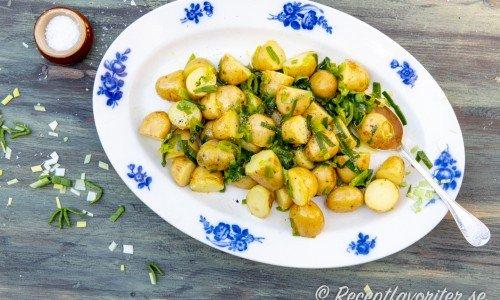 Potatissallad med purjolök på fat