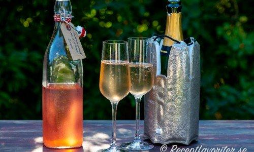 Två glas rabarberelini med flädertouch
