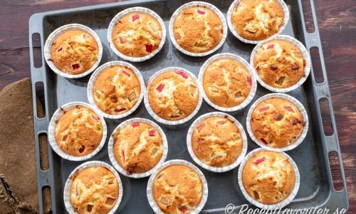 Nybakade muffins med rabarber, vit choklad och kokos på plåt
