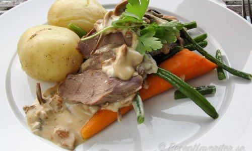 Helstekt rådjurssadel med kantarellsås, kokt potatis, morötter och lite grönt