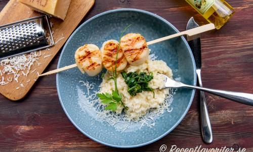 Risotto serverad med parmesan och lite spenat samt pilgrimsmusslor.