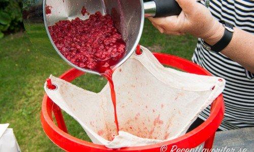 Sila bort bären i en saftsil, saftmaja eller i bunke med silduk (blöt gärna silduken innan så rinner saften lättare genom).
