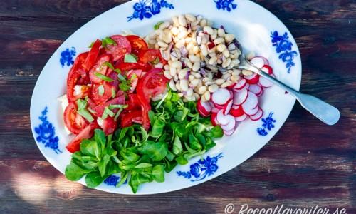 En variant på salladsfat med tomat, machésallad, marinerade vita bönor och rädisor.