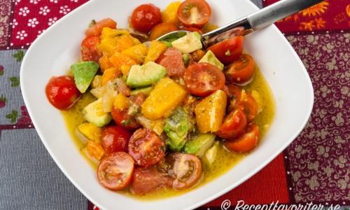Salsa med avokado, citrus och tomat