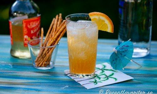 Sex on the beach drink med apelsin och salta pinnar