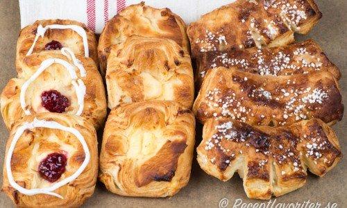 Recept med smördeg som spandauer, wienerbröd och kammar ovan