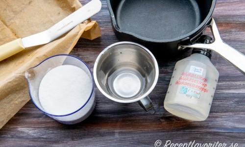 Ingredienser och utrustning till sockerglas