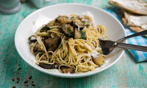 Spagetti med aubergine