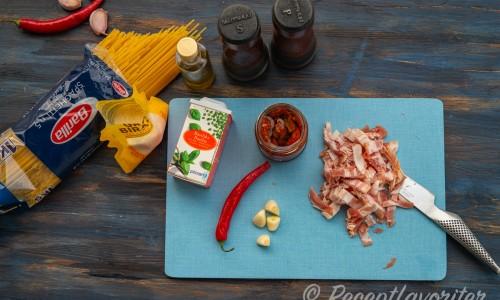 Ingredienser till pastan
