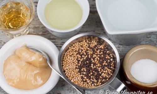 Recept på olika senap. Ingredienser till söt stark senap ovan