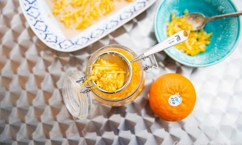 Syltade apelsinskal med ekologisk apelsin