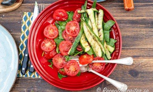 Grillad zucchini som sallad med tomater och babyspenat.