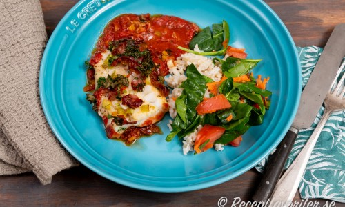 Torsk tillagad i ugnen med italienska smaker och grönsaker.