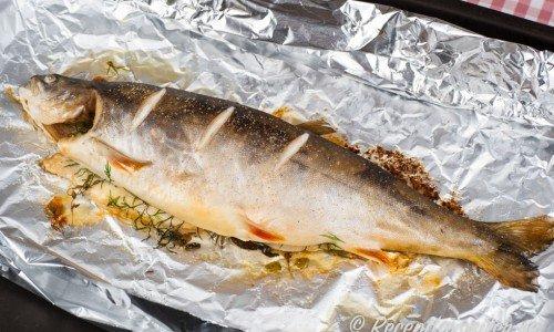 Recept på helstekt mat som ugnsbakad lax ovan.