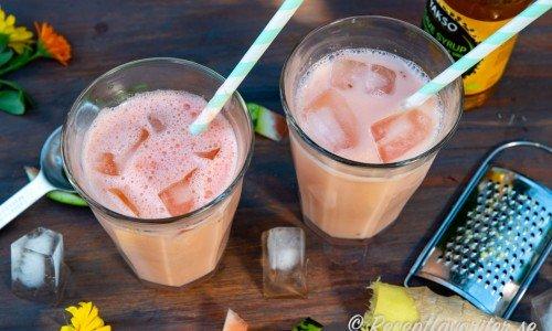 Lassi med vattenmelon i glas