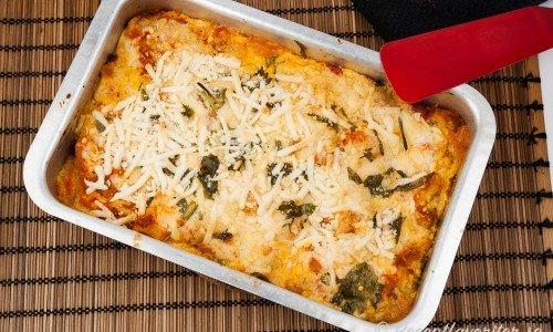 Vegan lasagne i form