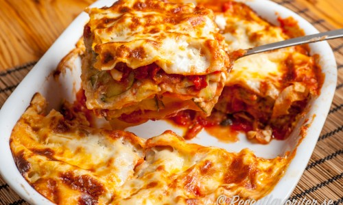 Vegetarisk lasagne i form