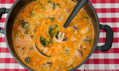 Denna matiga soppa skulle kunna kallas gryta - en slags tomatsoppa full med smak, grönsaker, vita bönor och gottis.