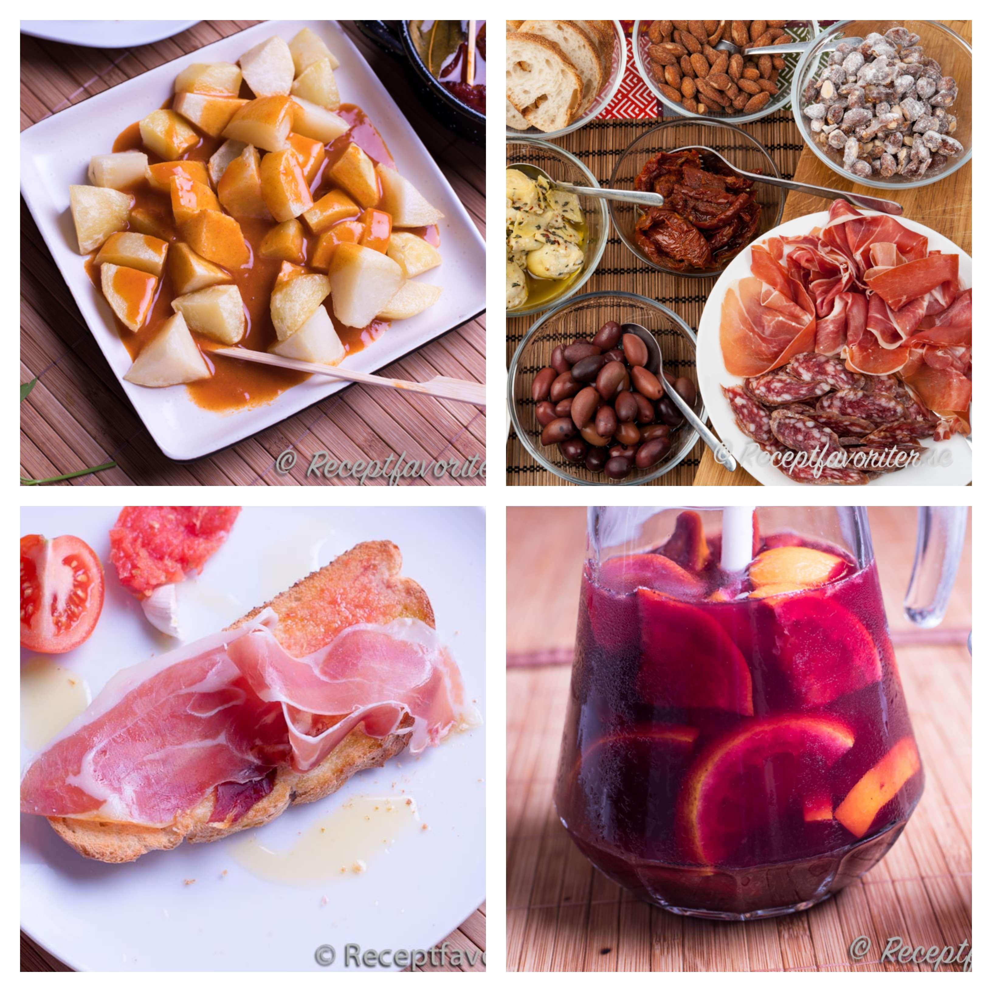 Enkla tapas, patatas bravas, sangria och pan con tomate.
